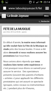 La version mobile du site